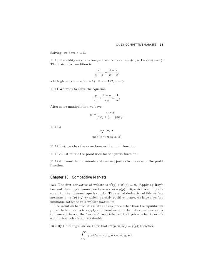 Varian, microeconomic analysis, solution book