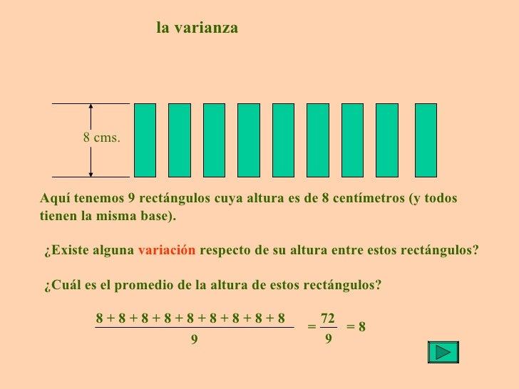 la varianza Aquí tenemos 9 rectángulos cuya altura es de 8 centímetros (y todos tienen la misma base). ¿Existe alguna  var...