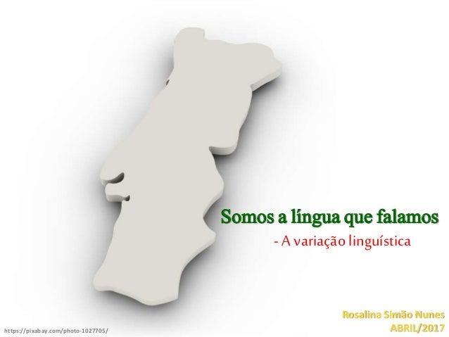 Somos a língua que falamos - A variação linguística Rosalina Simão Nunes ABRIL/2017https://pixabay.com/photo-1027705/