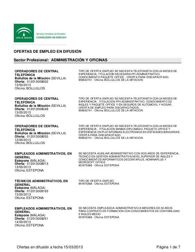 Varias Ofertas De Empleo Andalucia