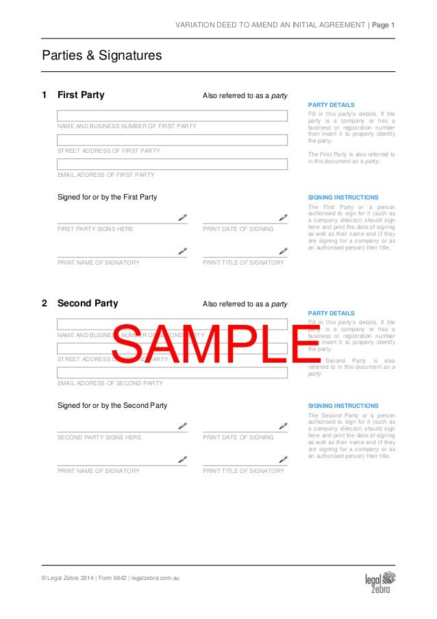 Variation Deed (To Amend An Initial Agreement) Template - Sample