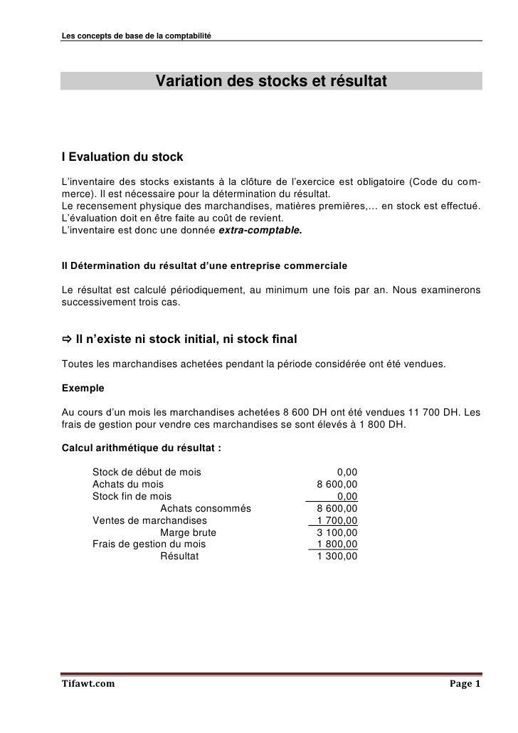Les concepts de base de la comptabilité                        Variation des stocks et résultatI Evaluation du stockL'inve...