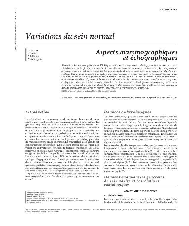 Variations du sein normal  J Chopier  C Salem  P Billières  C Balleyguier  Aspects mammographiques  et échographiques  Rés...