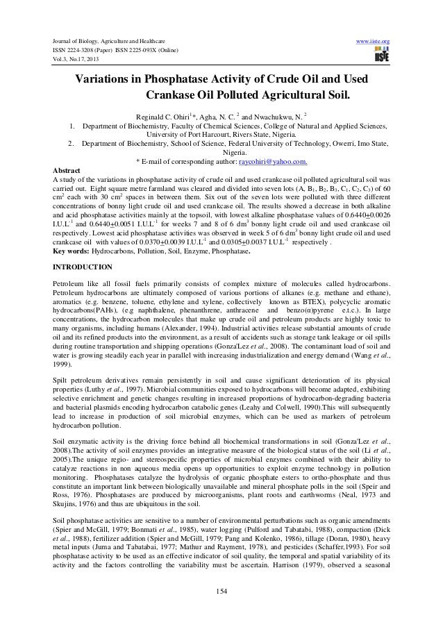 Journal of Biology, Agriculture and Healthcare ISSN 2224-3208 (Paper) ISSN 2225-093X (Online) Vol.3, No.17, 2013  www.iist...