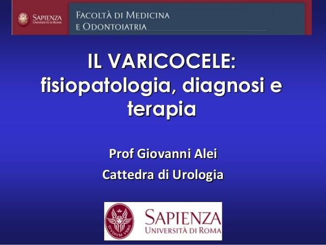 IL VARICOCELE: fisiopatologia, diagnosi e terapia Prof Giovanni Alei Cattedra di Urologia