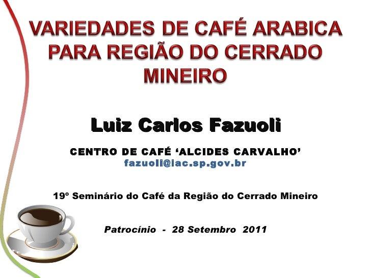 Luiz Carlos Fazuoli CENTRO DE CAFÉ 'ALCIDES CARVALHO' [email_address] 19º Seminário do Café da Região do Cerrado Mineiro P...