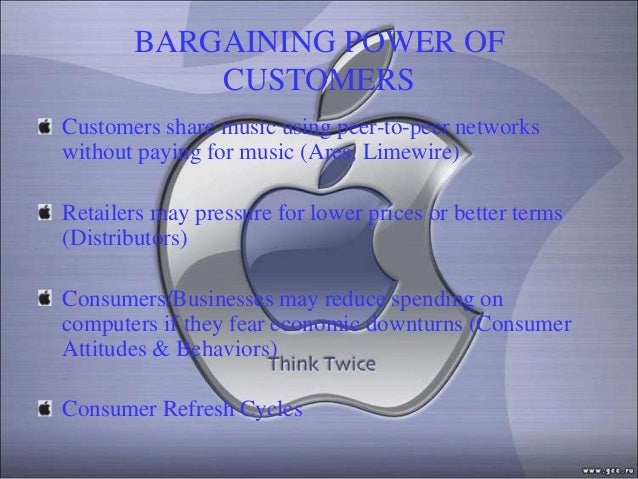 BARGAINING POWER OF           CUSTOMERSCustomers share music using peer-to-peer networkswithout paying for music (Ares, Li...