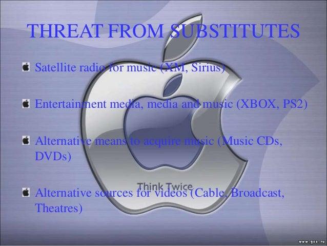 THREAT FROM SUBSTITUTESSatellite radio for music (XM, Sirius)Entertainment media, media and music (XBOX, PS2)Alternative m...