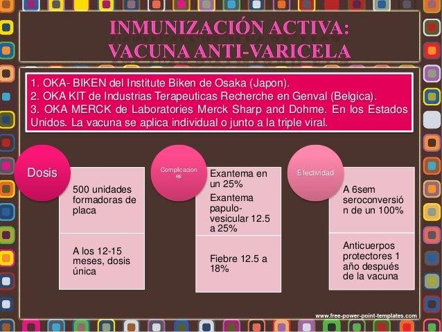 • Vacuna con virus vivos atenuados • Aplicar a los 15 meses Inmunización Activa • Vacunación activa no previene la enferme...