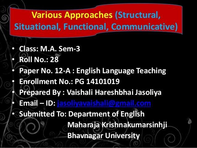 • Class: M.A. Sem-3 • Roll No.: 28 • Paper No. 12-A : English Language Teaching • Enrollment No.: PG 14101019 • Prepared B...