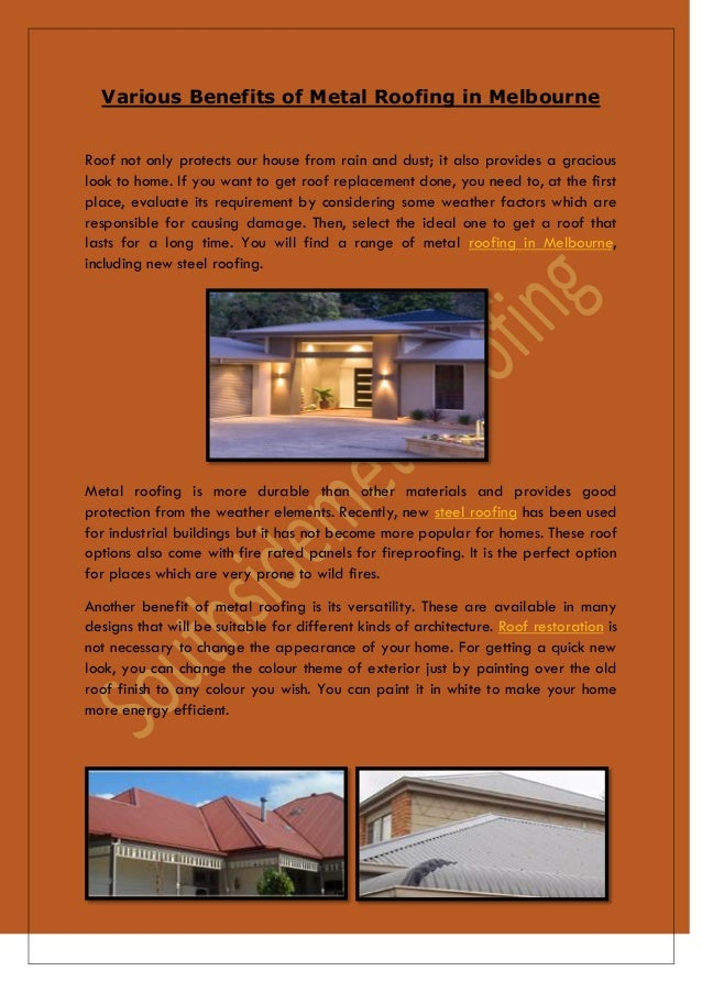 Various benefits of metal roofing in melbourne