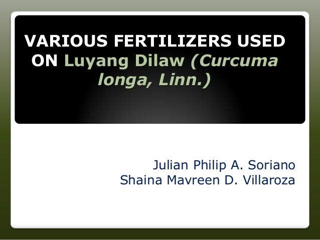 VARIOUS FERTILIZERS USED ON Luyang Dilaw (Curcuma longa, Linn.) Julian Philip A. Soriano Shaina Mavreen D. Villaroza