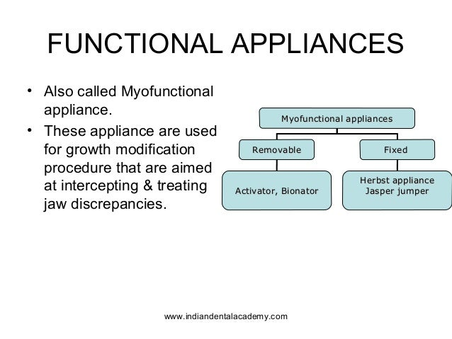 FUNCTIONAL APPLIANCES • Also called Myofunctional appliance. • These appliance are used for growth modification procedure ...