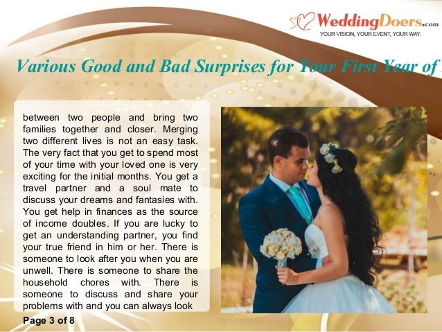 Love Each Other When Two Souls: Various Good And Bad Surprises For Your First Year Of Marriage