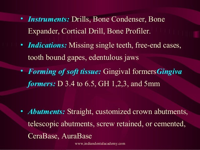 Various Implant Systems In India Final Oral Surgery Courses