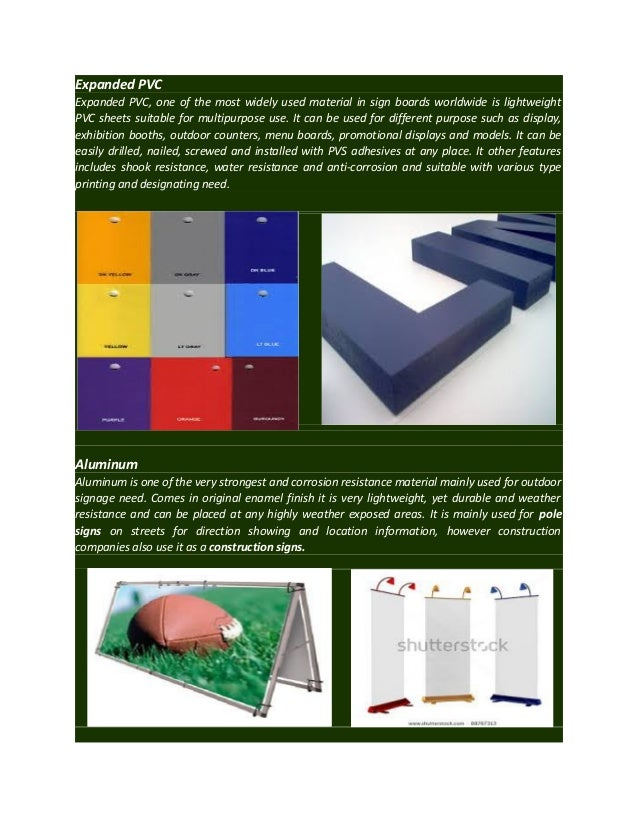 Various types of materials used in signage for Use of waste material