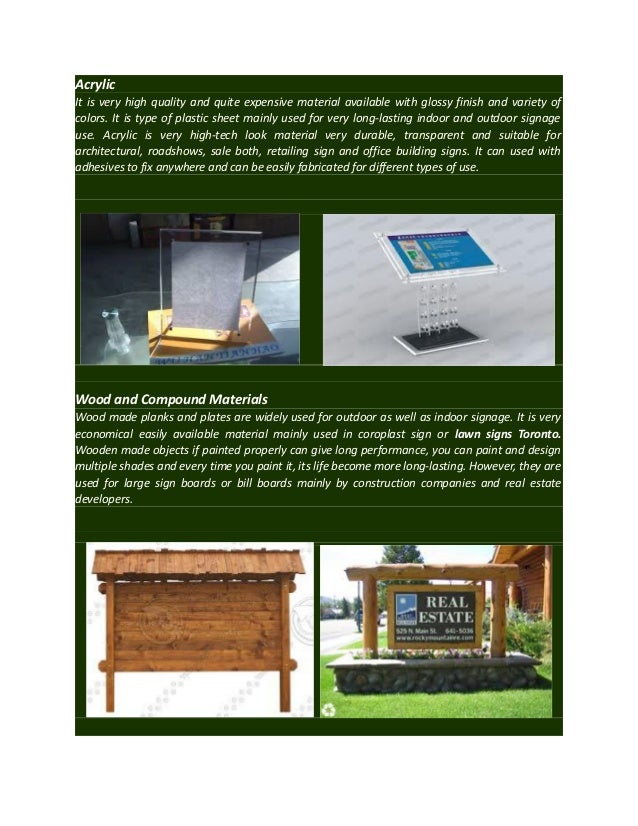 Various Types Of Materials Used In Signage