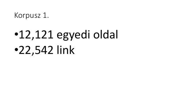 Korpusz 2. •Pay-level gráf •Az egyedi url-ek helyett domain nevek szerepelnek benne •747 csomópont •1195 link
