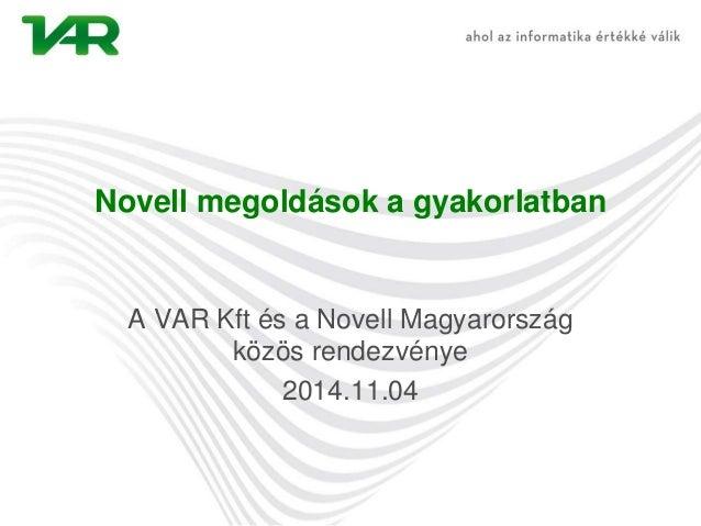VAR Novell workshop
