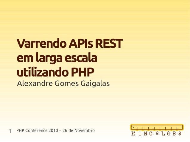 1 VarrendoAPIsREST emlargaescala utilizandoPHP Alexandre Gomes Gaigalas PHP Conference 2010 – 26 de Novembro