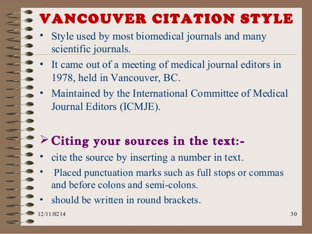 referencing thesis vancouver This guide will help you to learn about referencing, identify and follow an  apa  6th biomedical vancouver style chicago harvard at newcastle ieee journal.