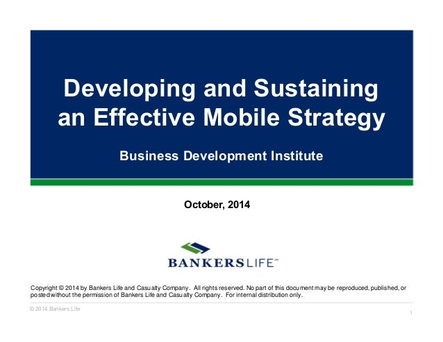 Developing and Sustaining  an Effective Mobile Strategy  Business Development Institute  October, 2014  Copyright © 2014 b...