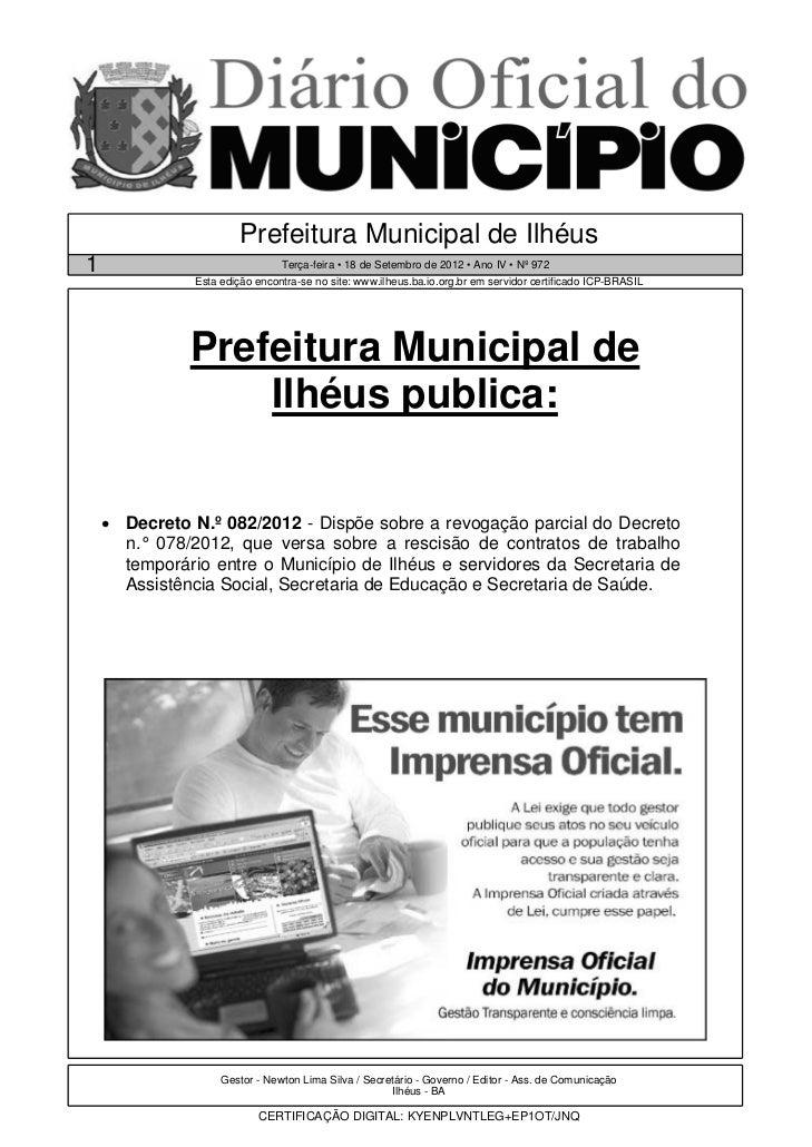 Prefeitura Municipal de Ilhéus1                               Terça-feira • 18 de Setembro de 2012 • Ano IV • Nº 972      ...