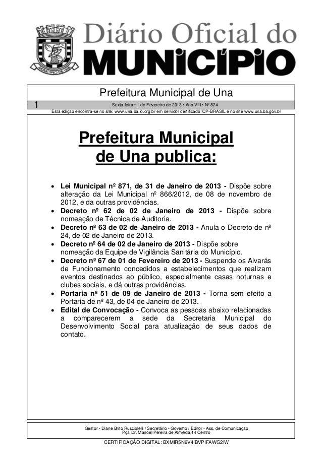 Prefeitura Municipal de Una1                                     Sexta-feira • 1 de Fevereiro de 2013 • Ano VIII • Nº 824 ...