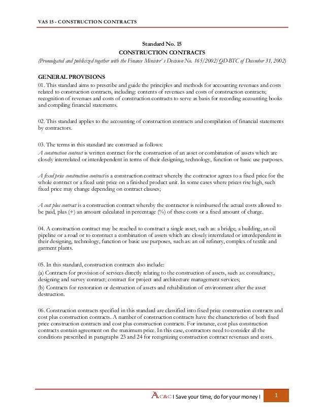 Vietnam Accounting Standards - VAS 15 Construction contracts