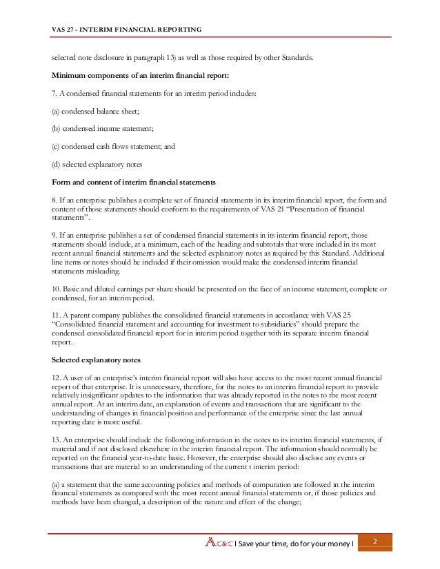 Vietnam Accounting Standards - VAS 27 Interim financial reporting