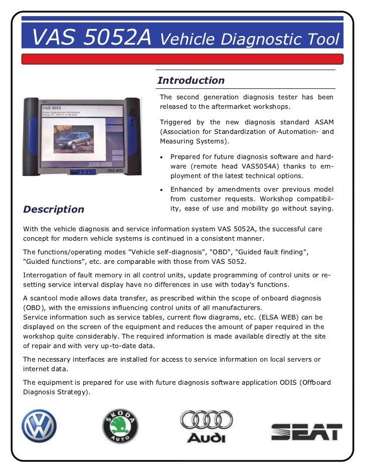 VAS 5052A                               Vehicle Diagnostic Tool                                         Introduction      ...