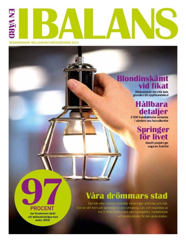 Vasakronans hållbarhetsredovisning 2012EnvärdIBALANSVåra drömmars stadDen bär våra visioner. Gestaltar värderingar drömmar...