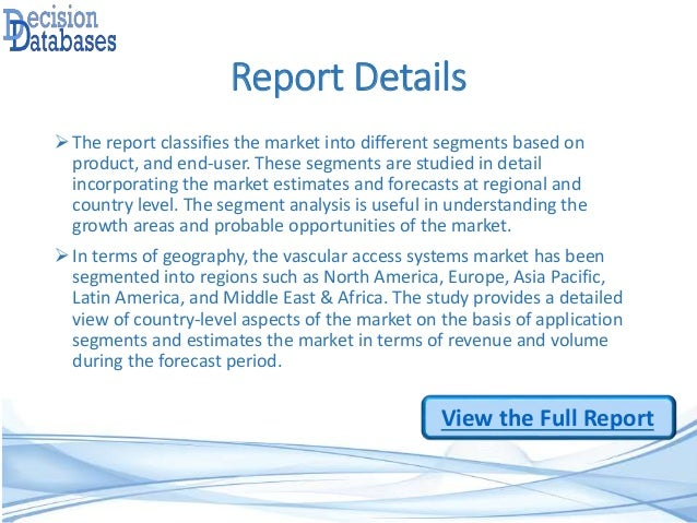 Analysis on Vascular Access Systems Market Research Report