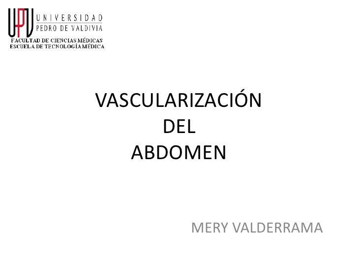VASCULARIZACIÓN      DEL   ABDOMEN        MERY VALDERRAMA