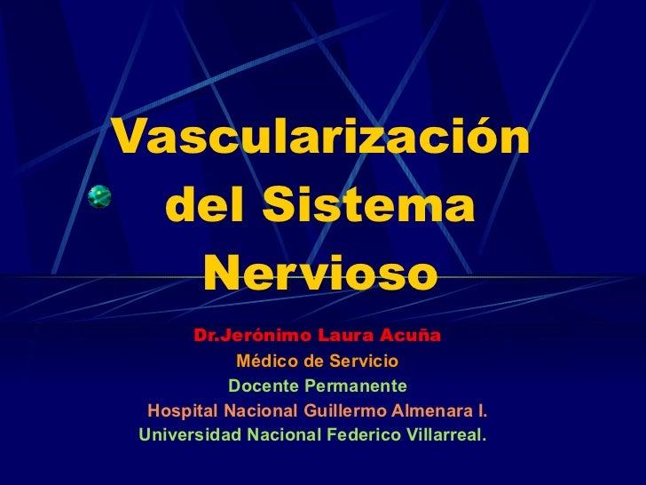 Vascularización del Sistema Nervioso Dr.Jerónimo Laura Acuña Médico de Servicio Docente Permanente Hospital Nacional Guill...