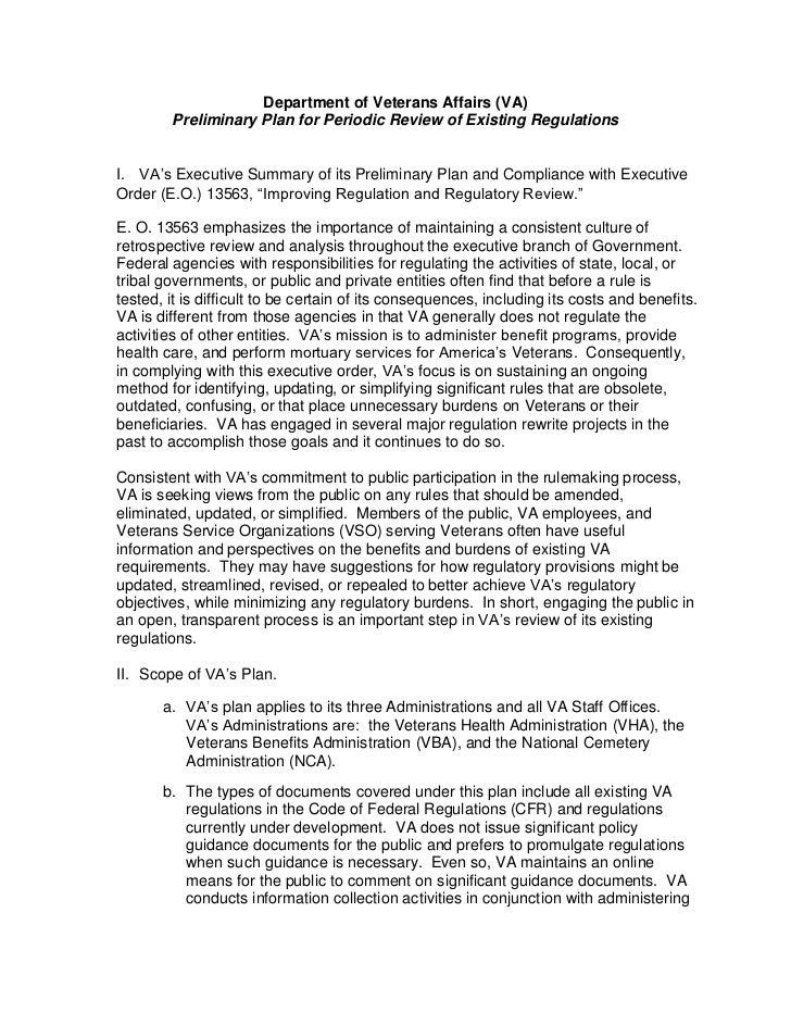 Department of Veterans Affairs (VA)        Preliminary Plan for Periodic Review of Existing RegulationsI. VA's Executive S...