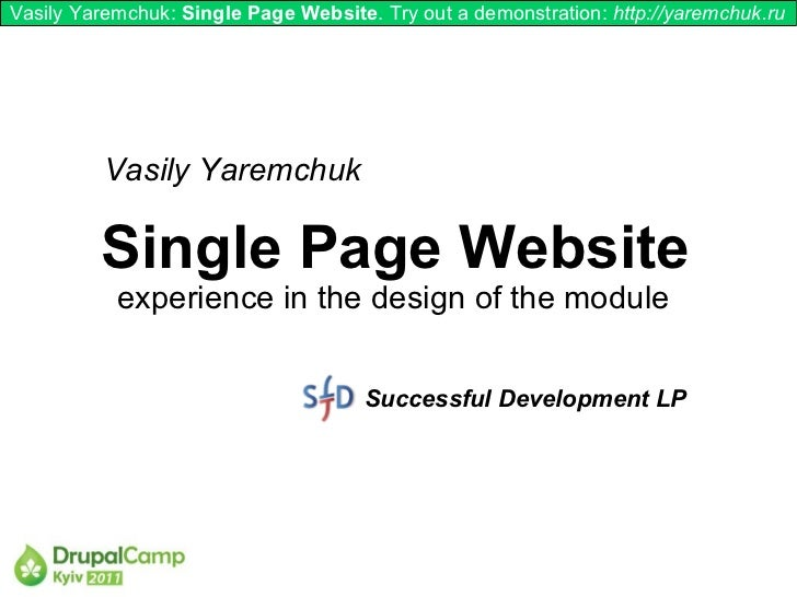 Vasily Yaremchuk: Single Page Website. Try out a demonstration: http://yaremchuk.ru          Vasily Yaremchuk         Sing...