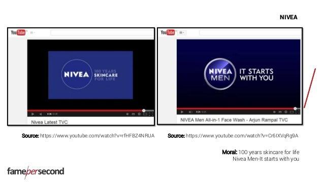 NIVEA Source: https://www.youtube.com/watch?v=rfHFBZ4NRUA Moral: 100 years skincare for life Nivea Men-It starts with you ...