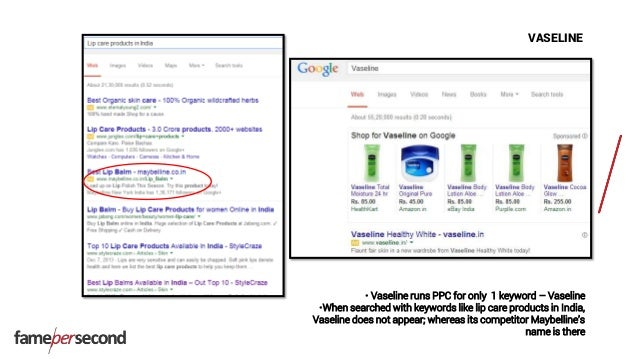 VASELINE • Vaseline runs PPC for only 1 keyword – Vaseline •When searched with keywords like lip care products in India, V...