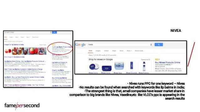 NIVEA • Nives runs PPC for one keyword – Nivea •No results can be found when searched with keywords like lip balms in Indi...
