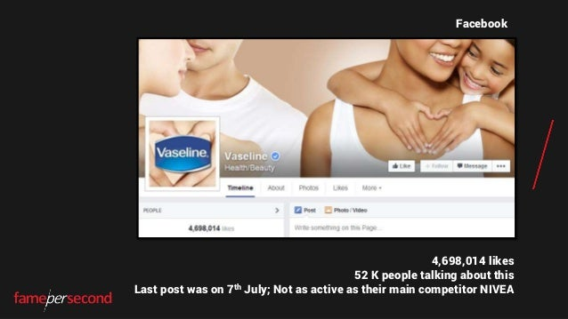 4,698,014 likes 52 K people talking about this Last post was on 7th July; Not as active as their main competitor NIVEA Fac...