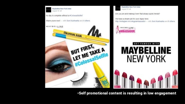 •Self promotional content is resulting in low engagement