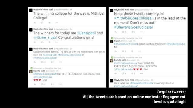 Regular tweets; All the tweets are based on online contests; Engagement level is quite high