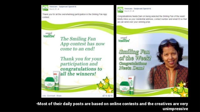 •Most of their daily posts are based on online contests and the creatives are very unimpressive