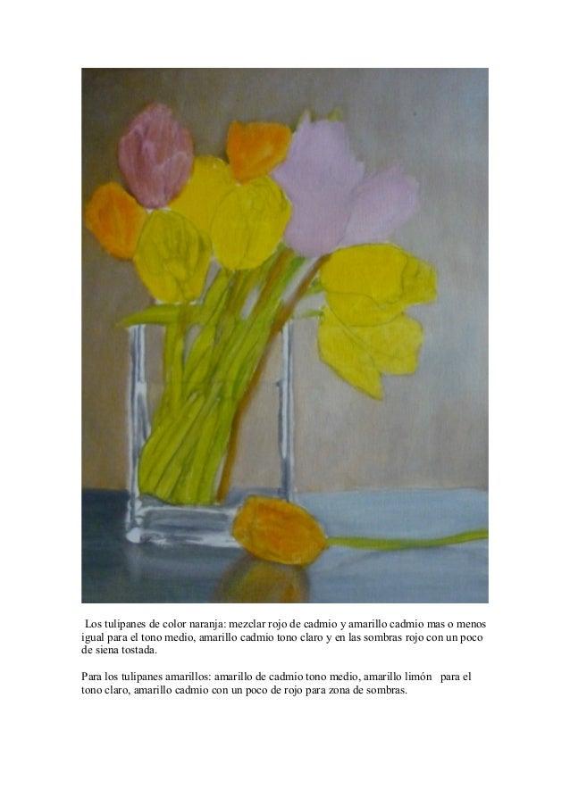Vaso De Cristal Con Tulipanes Al Oleo