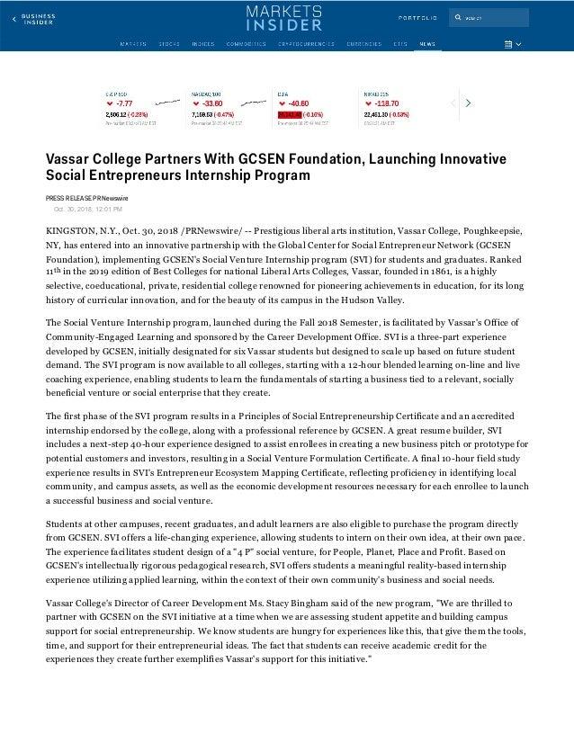 Vassar College Partners With GCSEN Foundation, Launching Innovative Social Entrepreneurs Internship Program PRESS RELEASE ...