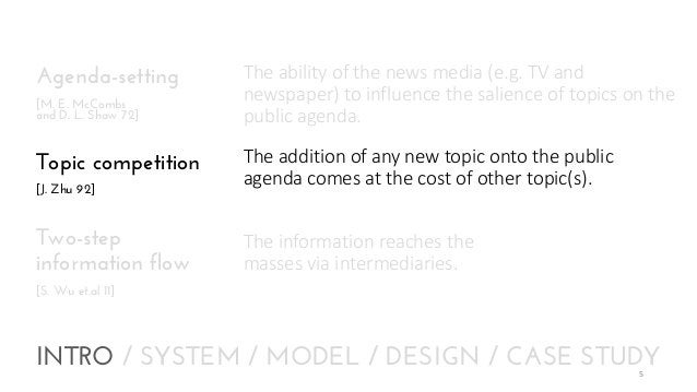 Agenda-setting [M. E. McCombs and D. L. Shaw 72]  Topic competition [J. Zhu 92]  Two-step information flow  The ability of...