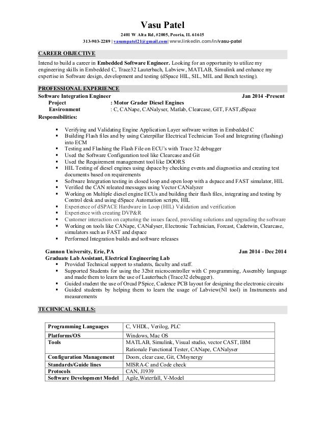 embedded software engineer vasu patel 2401 w alta rd 2005 peoria il 61615 313. Resume Example. Resume CV Cover Letter