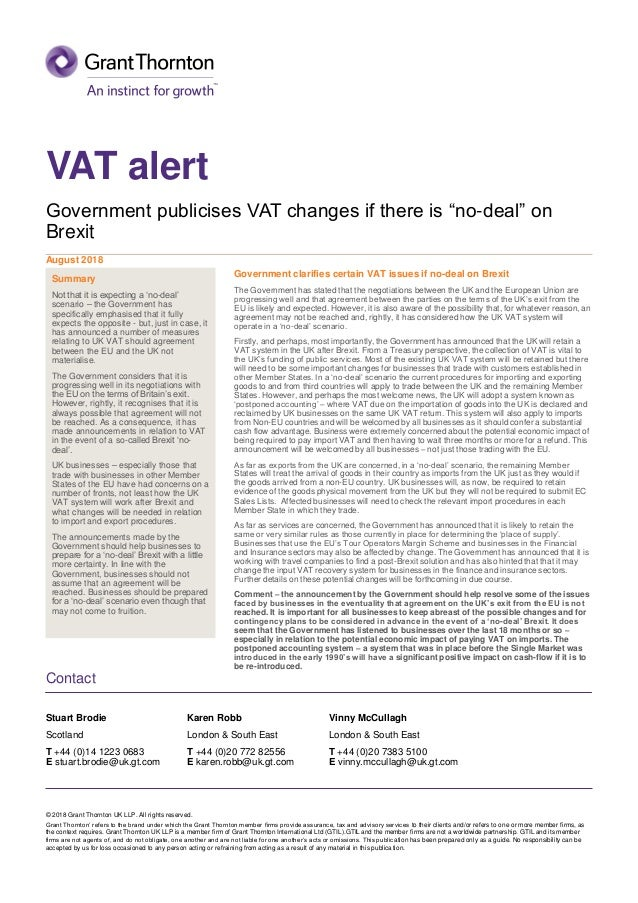 Uk Vat Alert Government Publicises Vat Changes If There Is No De