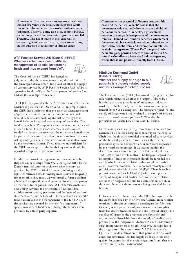 VAT Casebook (March 2014) - A summary of recent VAT cases